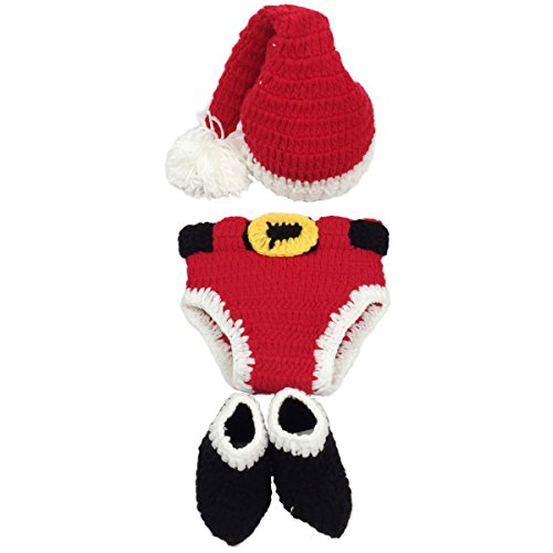 Jastore Infant Newborn Costume Photography Prop Santa Claus Crochet Knitted (Style -