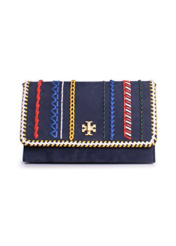 Tory Burch Kira Suede Whipstitch Clutch Handbag in Royal Navy Blue Multi