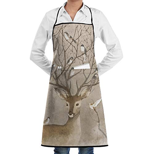 SWT Home Elk And Birds Adjustable Kitchen Apron With Pocket For Men & Women, Professional Chef Bib Apron For Cooking, Baking, Crafting, Gardening And BBQ
