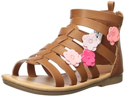carter's Girl's Flossie Flower Gladiator Sandal, Brown, 12 M US Toddler -