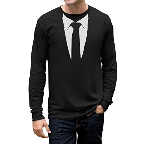Tuxedo Tie Printed Suit Men's Long Sleeve T-Shirt Small Black