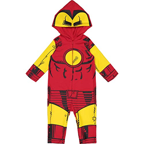 Marvel Avengers Iron Man Baby Boys' Zip-Up Hooded Costume Coverall (12 Months) -