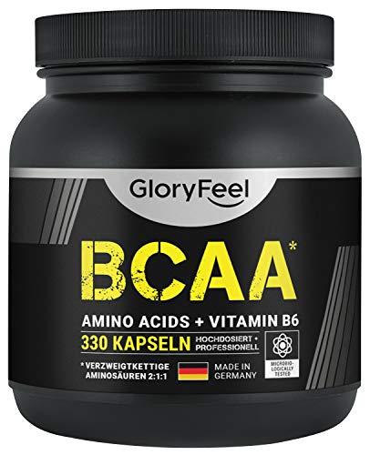 GloryFeel® BCAA 330 Kapseln - Der VERGLEICHSSIEGER 2020*- Essentielle Aminosäuren Leucin, Valin und Isoleucin Plus Vitamin B6 - Laborgeprüft und ohne Zusätze hergestellt in Deutschland