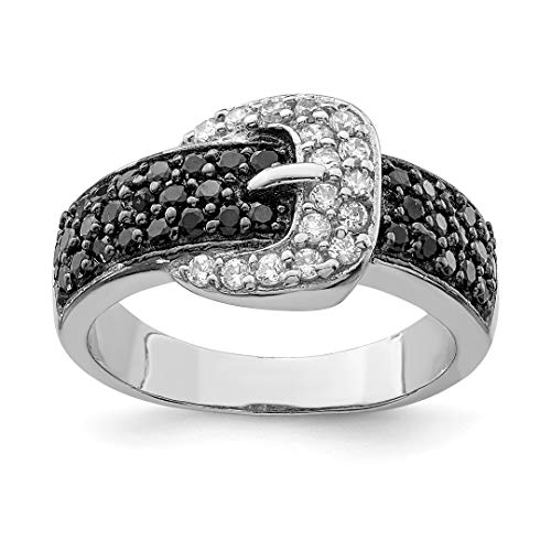 925 Sterling Silver Black Clear Cubic Zirconia Cz Buckle Band Ring Size 8.00 Fine Jewelry For Women Gift Set (Black Belt Faceted Leather Buckle)