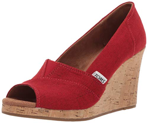 (TOMS Women's Classic Espadrille Wedge Sandal, red Crosshatch Jacquard, 7 B Medium US)