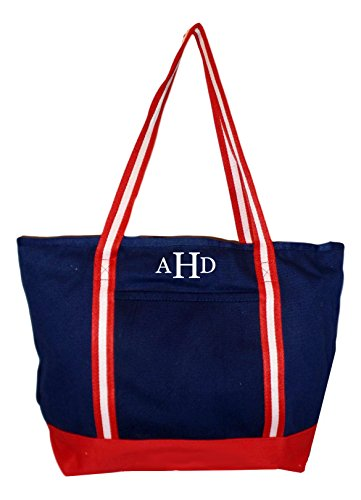 Premium Large 24 oz Cotton Canvas Zipper Top Tote Shopper Bag - Custom Available (Navy with Red White Straps - Embroidered Monogram)