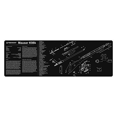 TekMat Mauser K98 Cleaning Mat / 12 x 36 Thick, Durable, Waterproof / Long Gun Cleaning Mat with Parts Diagram and Instructions / Armorers Bench Mat / Black