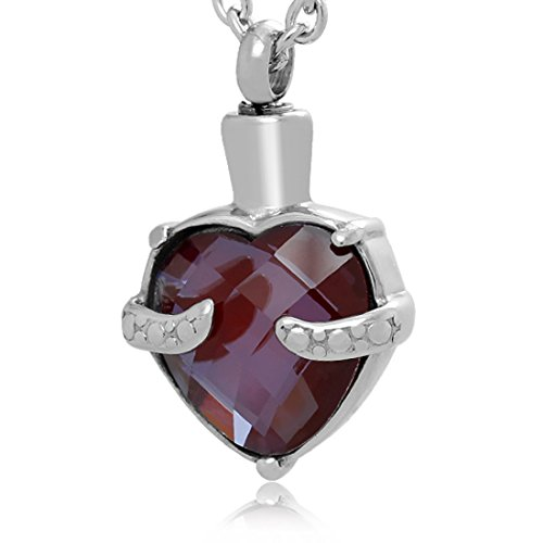 Gemstone Rust (Heart Gemstone Urn Necklace for cremation ashes 5 Colors (Velvet Red))
