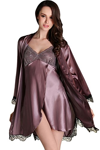 Awaye Satin Nightgown with Robe Solid Lace Silk Like 3/4 Sleeve Night Gown Two Piece Suit Short Slip Sleepwear, Purple, US S: Tag M