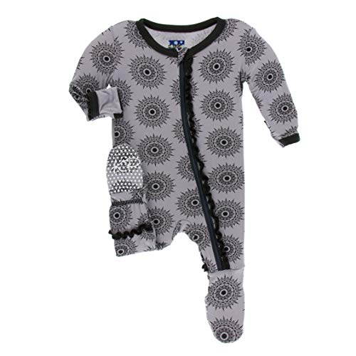 KicKee Pants Print Muffin Ruffle Footie with Zipper in Feather Mandala, 9-12 Months ()