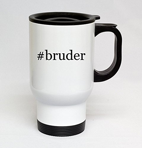 (#bruder - 14oz Sturdy Hashtag Stainless Steel Travel Mug, White)