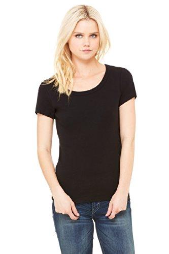 Bella Damen Kurzarm T-Shirt mit U-Ausschnitt, Baby-Rippstrick, schwarz, L