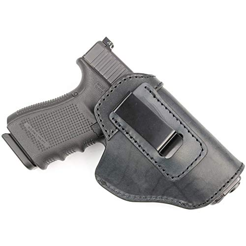 ComfortTac The Protector Leather IWB Holster for Glock 19, 23, 26, 27, 29, 30, 30S, 32, 33, 36, 38, 39, 43, 43X | S&W M&P Shield | Springfield XD & XDS | Sig Sauer P229, P239 | & Many More (Black)
