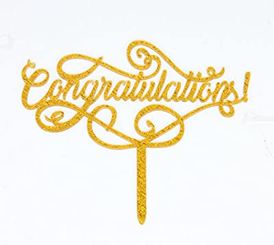 Congratulations Gold Cake Topper, Graduation, Wedding, Retirement Party Supplies