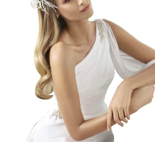 Hochzeitskleider Ballkleid GEORGE Schulter geraffte Brautkleider BRIDE Oberteil Elfenbein Chiffon Hochzeitskleid Ein OgwBOSq