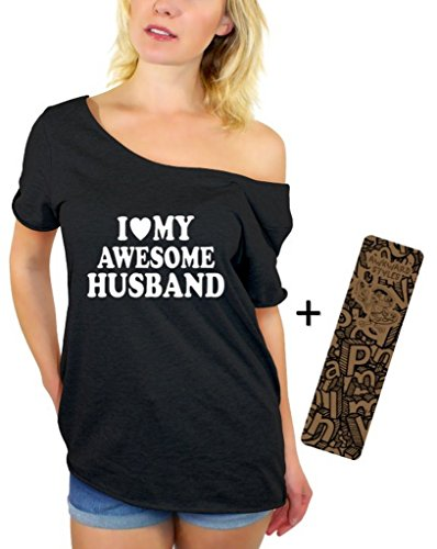 Awkwardstyles I Love My Awesome Husband Off Shoulder Tops T-Shirt + Bookmark L Black by Awkward Styles (Image #1)
