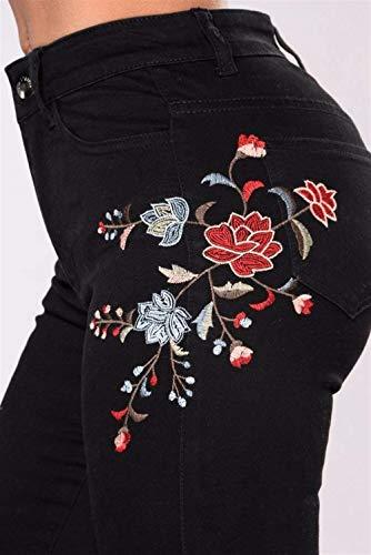 Jeans Mode Simple Stretch Florale À Broderie Décontracté Pantalons Haute La En Style Pantalon Schwarz Taille Crayon Skinny Denim Féminine P0kwX8nO