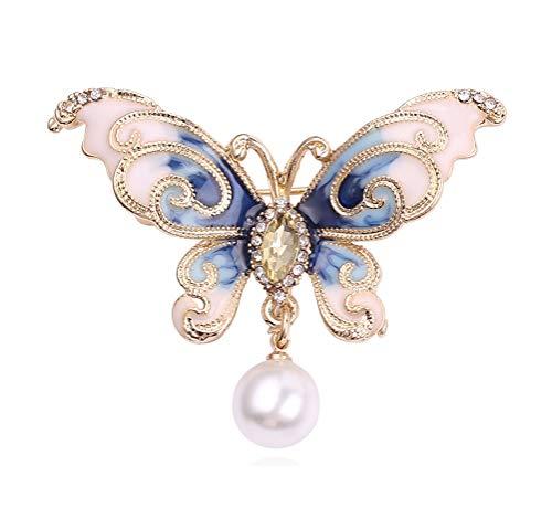 - Wedding Brooch pins Women Bouquet Rhinestone bee Rose Flower Butterfly Pearl (MQ Gold Butterfly Pearl Blue)