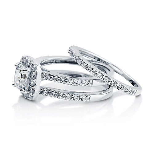 Berricle Rhodium Plated Sterling Silver Cubic Zirconia Cz Halo