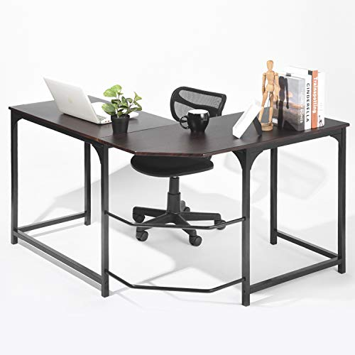 GreenForest L Shape Desk Home Office Corner Computer Desk PC Laptop Study Table Workstation, Espresso ()