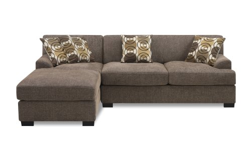 2 Piece Sectional With Chaise - Poundex Montereal 2-Piece Chaise-Love Sectional Collection Set with Faux Linen fabric, Slate Color