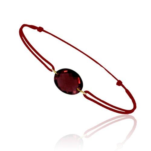 Tousmesbijoux Bracelet cordon Or jaune 750/00 et grenat taille ovale