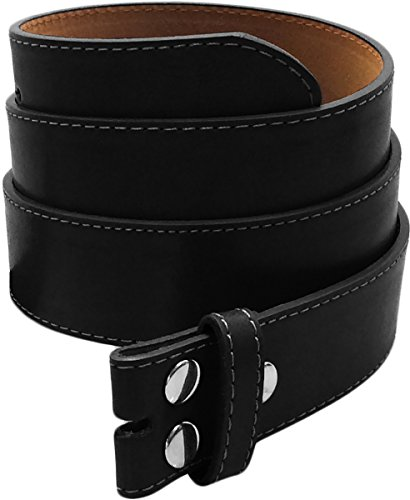 LUNA Premium Basic Genuine Leather Stitching Belt Strap - Black - 3X Large