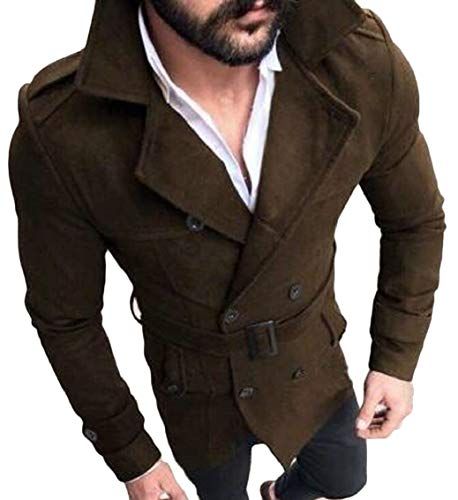 Slim Trench Breasted Blend Gocgt Wool Collar Mens Double Jacket Brown Coat 5q478Tw