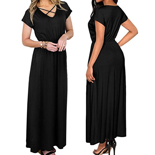 Dame Maxi Robe Maxi Boho Covermason Noir Bohme Manches de Robe Col Soire Longue Solide V Robe Robe Plage Femme Courtes D't Longue Swq0g6fw