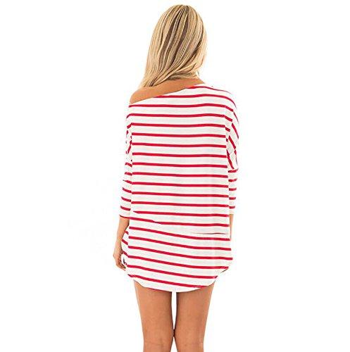 XL Hors Shirt Chemise Mesdames Mode Huateng paule Rouge lache Chauve S Vert Manches Rouge Rayures Bleu Loisirs T Souris 7H84Snw6qS