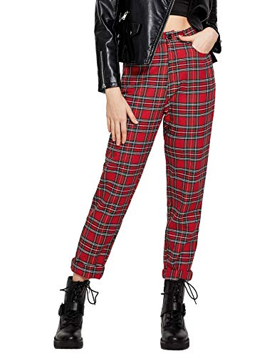 WDIRARA Women's Mid Waist Button Front Plaid Straight Leg Pants Red and White L