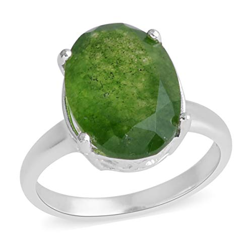 (925 Sterling Silver Oval Green Jade Engagement Ring for Women Jewelry Size 7 Cttw 4.1)