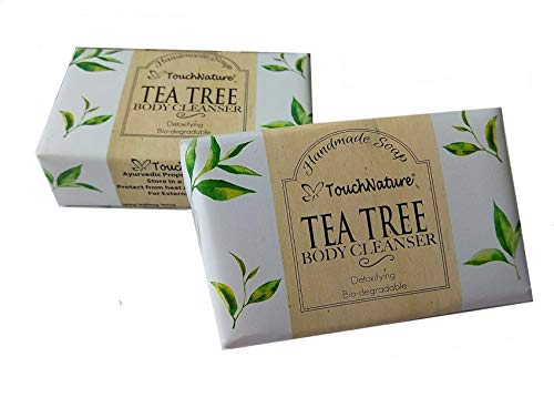 Touch Nature 2 pc 100g Tea Tree Handmade Natural Soaps. Tea Tree Bar & Castile Soap. No Parabens, No Sulphates, Natural Anti Septic, Cold Pressed, Vegan Soap. Perfect Gift for -