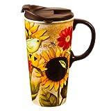 Cypress Home Sunflower Strong Ceramic Travel Coffee Mug, 17 ounces