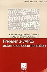 Préparer le CAPES externe de documentation par Brigitte Bacconnier