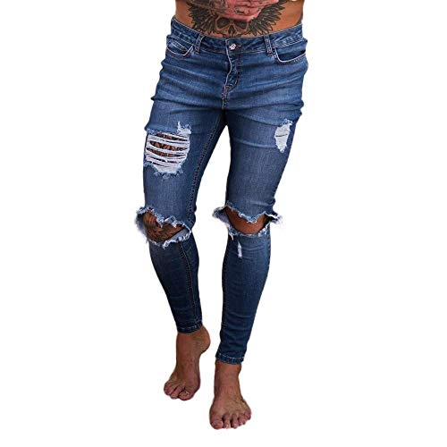 - ZZpioneer Men's Ripped Skinny Distressed Destroyed Slim Fit Stretch Biker Long Jeans Pants with Holes(XL=34,Deep Blue)