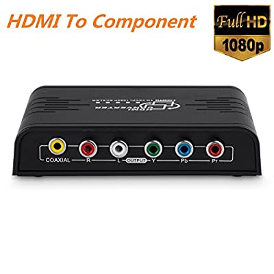 Cingk 1080P HDMI To Component Video (YPbPr) Scaler Converter Adapter with Coaxial Audio Output and R / L Audio Support Windows 10, Black
