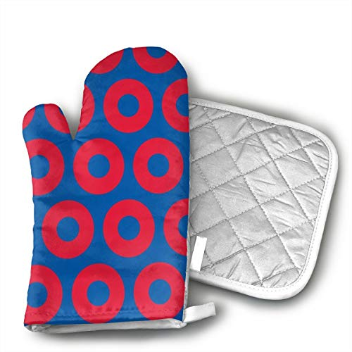 KEIOO Phish Circles Oven Mitts and Potholders Heat Resistant Set of 2 Kitchen Set Non-Slip Grip Oven Gloves BBQ Cooking Baking -