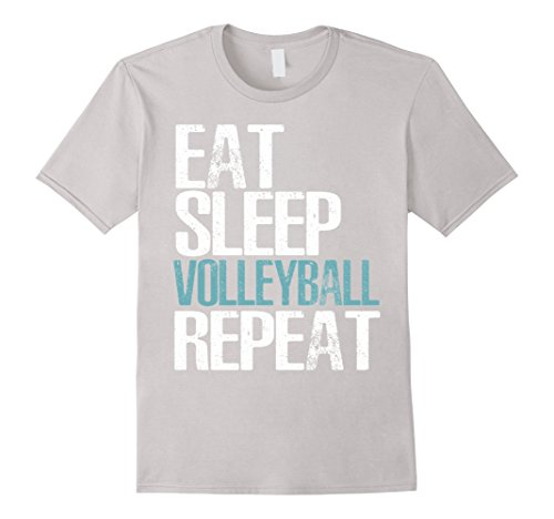 Silver Mens Volleyball (Mens Eat Sleep Volleyball Repeat T-Shirt Cool Sport Game Gift Medium Silver)