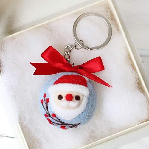 Hacloser Wool Felting Kit Tool Supplies, Christmas Santa Claus Keychain, DIY Handmade Craft Needle Felting Material Bag ()