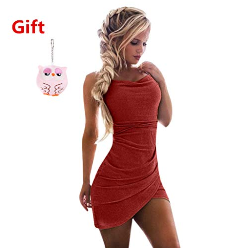 New in Respctful ❈ Women Sexy Cold Shoulder Bodycon Party Club Midi Dress Split Ruffle Sleeveless Dress Top Red