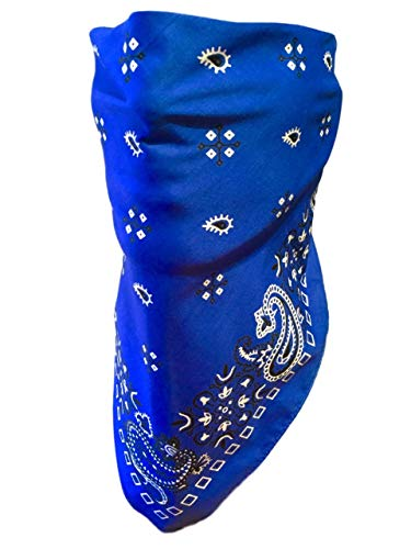 My Skull Store Blue Paisley Adjustable Close Bandanna Mask Face Cover Reversible ChopTop, DoRag, Dust, Bug Mask, Sun Protection, Motorcycle ATV Rider Hand -