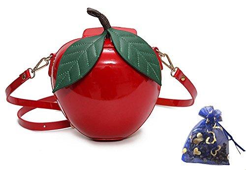 Fashion Apple Shape PU Leather Handbag Cartoon Shoulder Bags Purse - Red / (Apple Red Handbag)