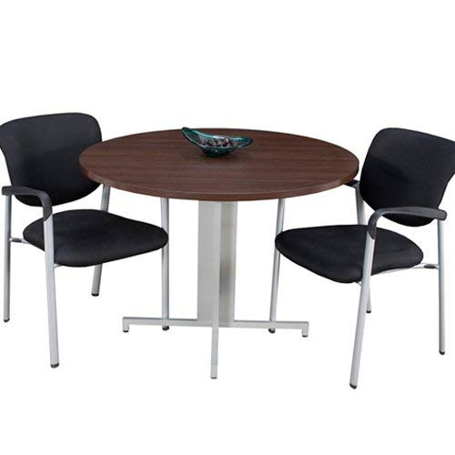 Modern Round Conference Table and Chairs Set, Office Meeting Room, Boardroom, Professional (42'' with 3 Armed Chairs, Java) by Office Pope (Image #5)