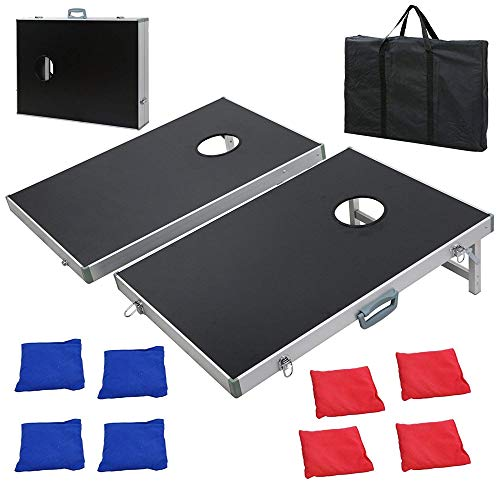 F2C Portable Aluminum/Wooden/PVC Framed Bean Bag Cornhole Toss Game Set Board 3FT 2FT/4FT 2FT W/ 8 Bean Bags& Carrying Case| Original Black, Classic Red& Blue to Choose (3ft x 2ft Aluminum Frame) ()
