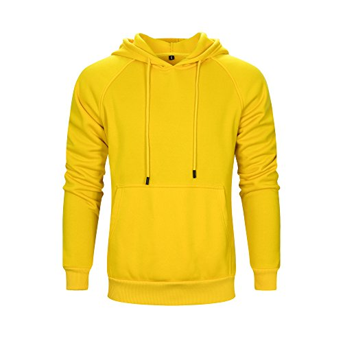 (ASALI Men's Solid Casual Hoodie Sweatshirts Sports Pullover Soft Hooded Yellow L)
