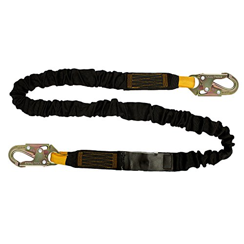 Fusion Climb 4ft 48''x2'' Internal Shock Absorbing Fall Protection Safety Lanyard with HS Steel Snap Hooks 23kN Black by Fusion Climb