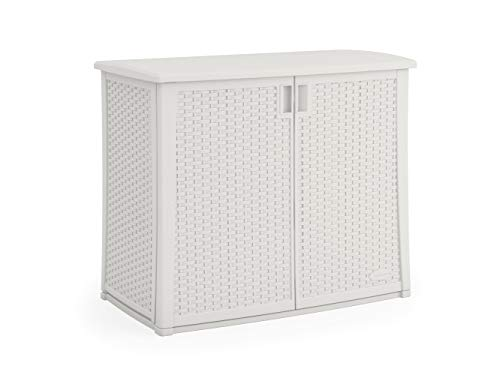 "Suncast Elements Outdoor Wide Cabinet - 40"" Wide Resin Constructed Patio Furniture Ideal for Decks and Balconies - Contemporary Wicker Design for Outdoor Storage with 97 Gallon Capacity - White"