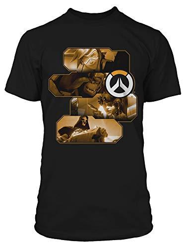 JINX Overwatch Men's Heroes and Assassins Tee Shirt, Black, Small -