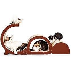 Siweite Cat Scratcher Lounge, Cat Scratch Post Corrugated Cat Scratcher Cardboard Bed Sofa Scratching Pad 3 in 1 GD Letter Design House Furniture Construction with Catnip